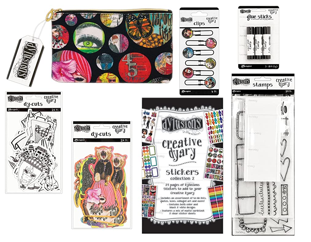Dylusions Dyan Reaveleys Creative Dyary Extras Bundle - Include Clear Stamps, Stickers (Collection 2), Clips, Dy-Cuts (2 Sets), Glue Sticks, Dyary Accessory Bag - 7 Piece Bundle