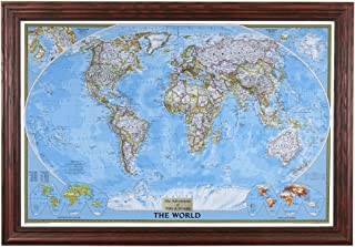 Push Pin Travel Maps Personalized Classic World with Solid Wood Cherry Frame and Pins 24 x 36