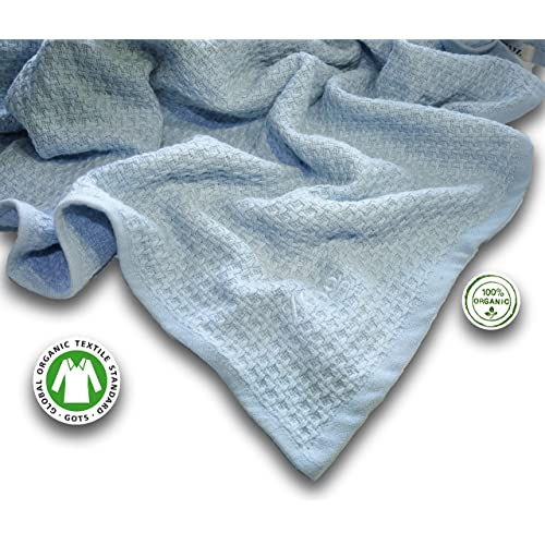 """Zoog Organic Cotton Toddler Blanket Natural Dye Premium Quality GOTS Certified Non-Chemical Non-Toxic 100% Organic Cotton Soft Knitted 31"""" x 40"""" Baby Blue (Blue)"""