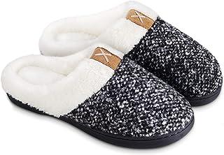 BERGMAN KELLY Women's Slippers, Memory Foam Indoor/Outdoor House Shoes with Ultra Soft Wool-Like Plush Fleece Lining (Prai...