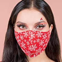 Christmas Face Mask Washable Red Snow Flakes | XMAS Reusable 4 Layer Masks Made in US | Cotton with Filter Pocket | New Ye...