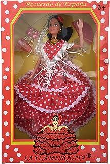 La Señorita Spanischer Puppe rot mit weißen Punkten Flamenco Kleid und Zubehör