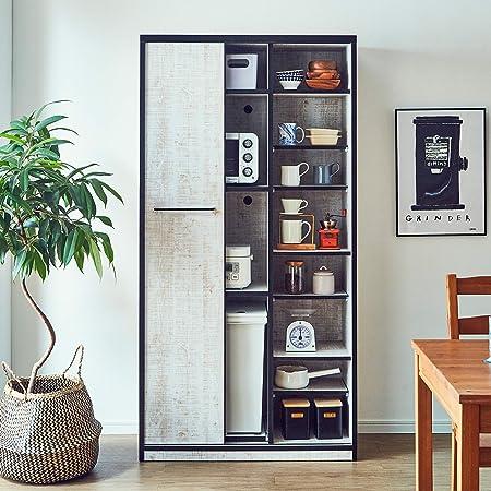 食器棚 引き戸 L.A. 幅90 (92.7cm) 完成品 カラー3色 日本製 大川家具 (アンティークホワイト)