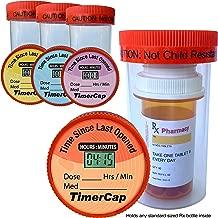 TimerCap Smart Medicine Bottle Wide Mouth - Fits Any Standard Rx Bottle Inside (4 Pack) EZ - Twist