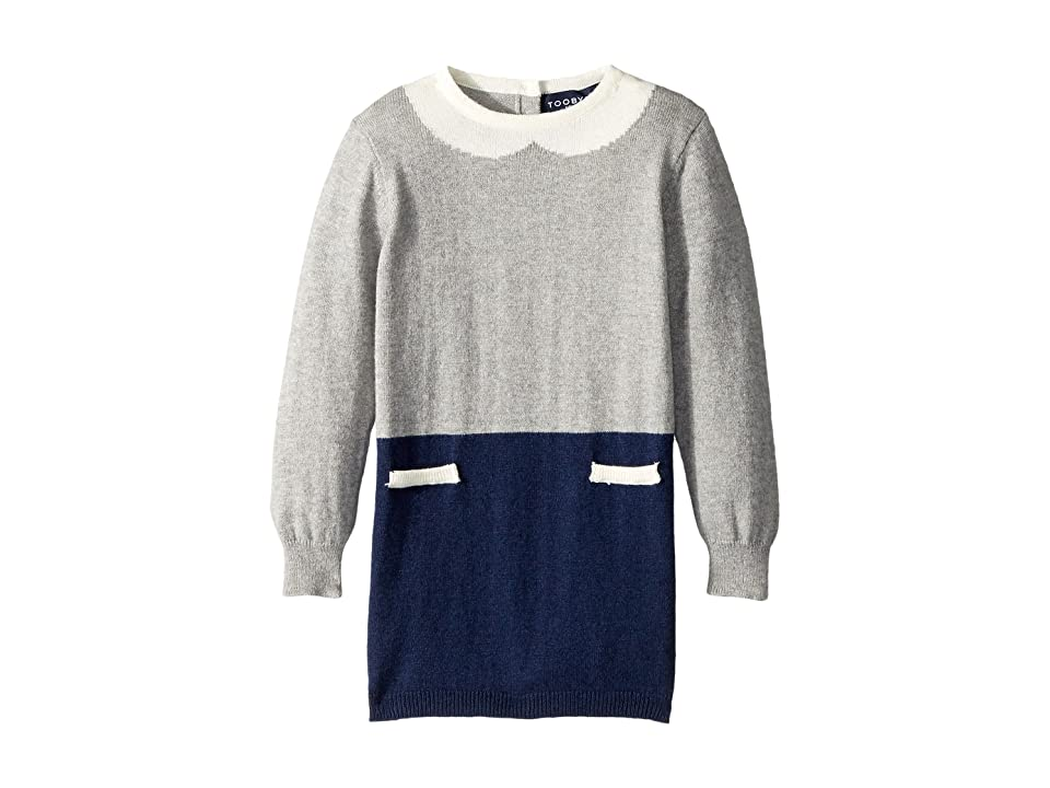 Toobydoo The Olive Faux Collar Sweater Dress (Infant/Toddler) (Navy/Grey) Girl
