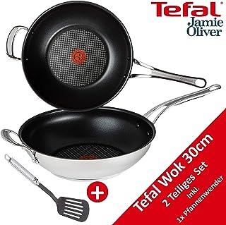 Tefal H60150 Jamie Oliver - Sartén Wok (30 cm, Apta para inducción, con Mango, Revestimiento Antiadherente, Apta para Todo Tipo de cocinas, Apta para lavavajillas, Apta para Horno, Borde Alto)