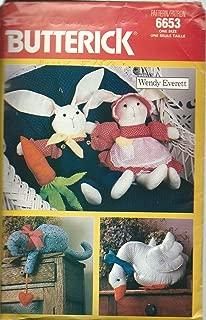Butterick 6653 Soft-sculpture Animals Pattern, Country Craft Cat Bunny Duck Wendy Everett Easter