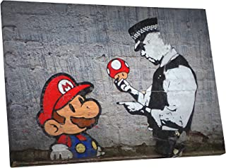 Pingo World Banksy Super Mario Bros Mushroom Gallery Wrapped Canvas Wall Art (30