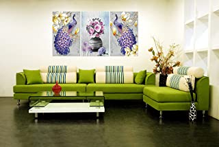 SND Peacock & Flower Modern Art Large Set of 3 UV Coated Multi Effect Decorated 6 MM MDF Frame Wall Painting for Living Ro...