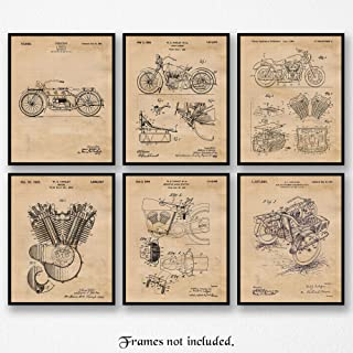 Original Harley Davidson Patent Poster Prints, Set of 6 (8x10) Unframed Photos, Wall Art Decor Gifts Under 20 for Home, Office, Man Cave, College Student, Teacher, American Motorcycles Touring Fan