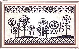HomeHobbyArt Stickbild mit Perlen komplette Stickpackung Afrikanische Bilder 40x22cm Stickset Stickerei Set Handarbeit Stickvorlage vorgedruckt vorgezeichnet Bild selbst Sticken