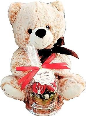 【プリザーブドフラワーLira】テディベア×ドームアレンジ×手提げ袋 3点セット プレゼント 誕生日 記念日 お祝い (ブラウンベア)