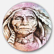 "Designart ""American Indian Head Portrait Circle"" Wall Art, 23 x 23"", Purple/Brown"