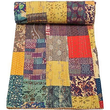Indian Handmade Twin Size Reversible Floral Cotton Quilt Throw Embroidered Bohemian BedSpread Gypsy Blanket Ethnic Bedding Coverlet J095