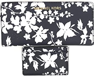 Michael Kors Jet Set Travel Large Card Case Carryall Leather Wallet in Navy/White Floral