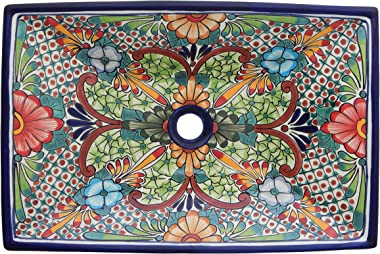Mexican Vessel Rectangular Sink Bathroom Handmade Sink Hand Painted #227