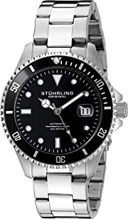 Stuhrling Original Men's Automatic Watch with Black Dial Analogue Display and Silver Stainless Steel Bracelet 792.01
