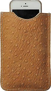 Astuccio porta e proteggi smartphone custodia in vera pelle pregiata riciclata e stampata con fantasia disegno Struzzo fat...