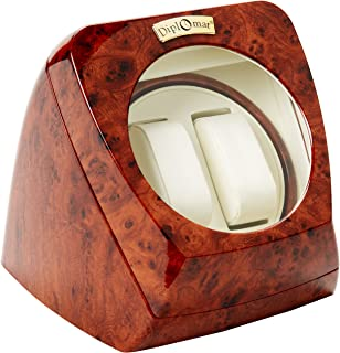 Burl Wood Double Watch Winder with Leather Interior and Multi-Setting Smart IC Timer