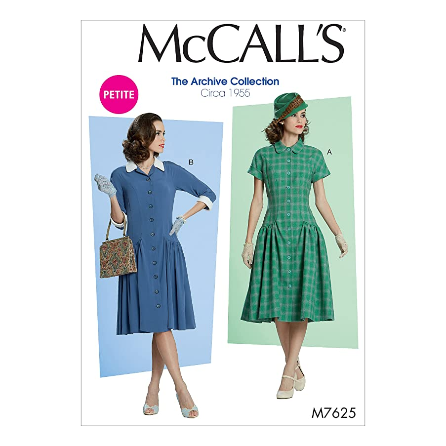 McCall's Patterns M7625A50 Miss Petite Low-Waist/Fit and Flare Dresses