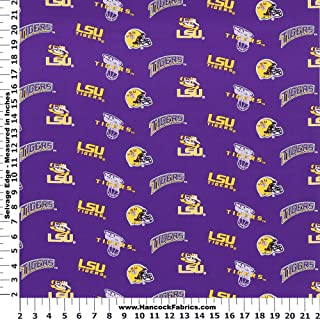 LSU Tigers Cotton Fabric, Purple & Gold - Sold By the Yard