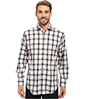 Thomas Dean & Co. - Long Sleeve Woven Jacquard Plaid