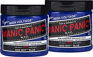 Manic Panic Bad Boy Blue Hair Color Cream (2-Pack) Classic High Voltage, Semi-Permanent Hair Dye - Vivid, Baby Blue Shade For Dark, Light Hair – Vegan, PPD & Ammonia-Free Ready-to-Use, No-Mix Coloring