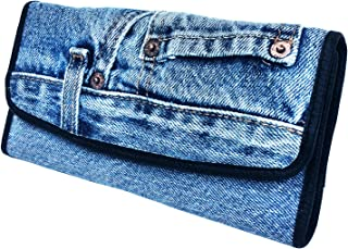 Women Blue Denim Money Flap Roomy Wallet Wristlet Purse Clutch BMW014