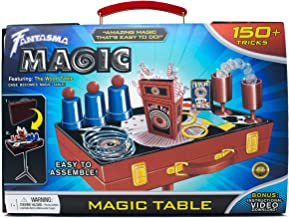 Fantasma Magic Trick Learning Kit for Kids and Adults - Magic Set with Wooden Carrying Case and Magician's Table Combo - Learn 150 Magic Tricks - 7 Years and Older