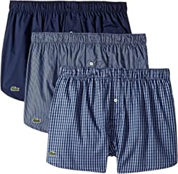 Lacoste - Authentics 3-Pack Gingham Print Woven Boxers