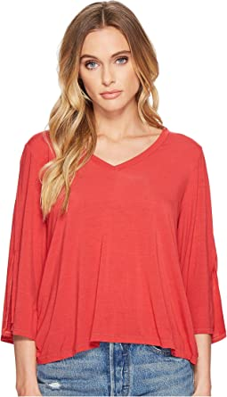 Jersey Lycra® 3/4 Slit Sleeve V-Neck Top