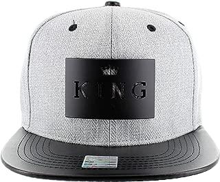 King Black Metal Piece Snapback Adjustable Hat Cap Grey & Black