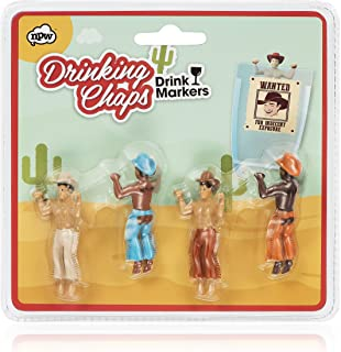 Drinking Buddies Classic Themed Reuseable Glass Drink Markers, 4