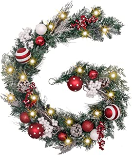 Valery Madelyn Pre-Lit 6 Feet/72 Inch Traditional Red White Christmas Garland with Ball Ornaments, Berries and Pine Cones, Battery Operated 20 LED Lights