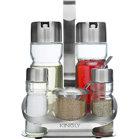 Kitchen Metal Salt Pepper Spices Container Holder Cruet Bottle Silver Tone 3pcs