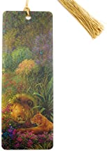 Lion and Lioness Bookmark in 3D Lenticular Art by Tom Dubois with Golden Tassel