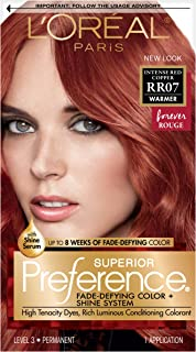 L'OrÃal Paris Superior Preference Fade-Defying + Shine Permanent Hair Color, RR-07 Intense Red Copper, Pack of 1, Hair Dye