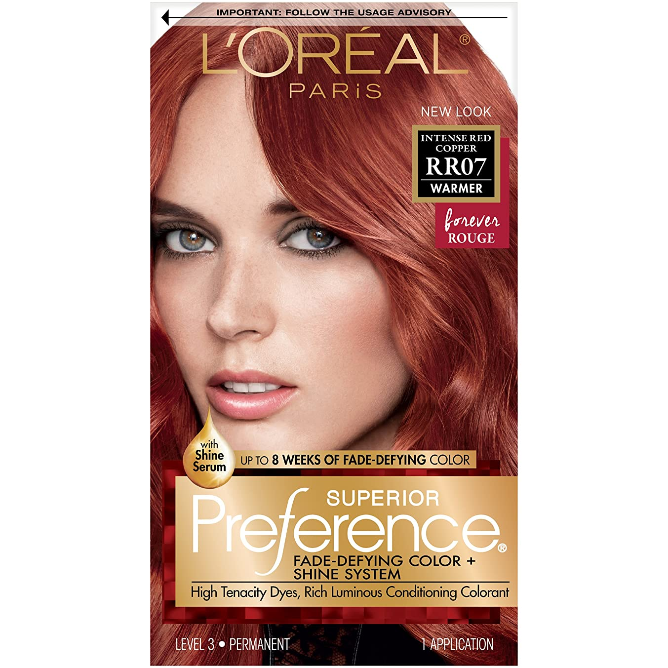 L'Oréal Paris Superior Preference Fade-Defying + Shine Permanent Hair Color, RR-07 Intense Red Copper, 1 kit Hair Dye