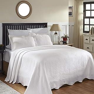 SUPERIOR 100% Cotton Geometric Fret Scalloped Bedspread Set
