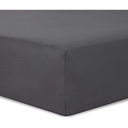 VISION Drap Housse Anthracite - 160 x 200 cm - 100% Coton