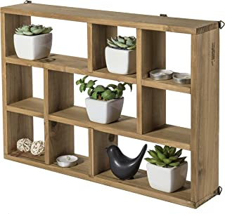 MyGift 15-Inch Wall-Mounted (Vertical or Horizontal) 9-Slot Rustic Wood Floating Shelves/Freestanding Shadow Box, Brown