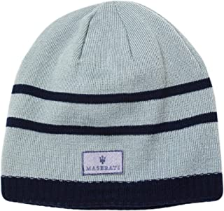 Maserati Reversible Beanie Knit Hat Gray and Blue