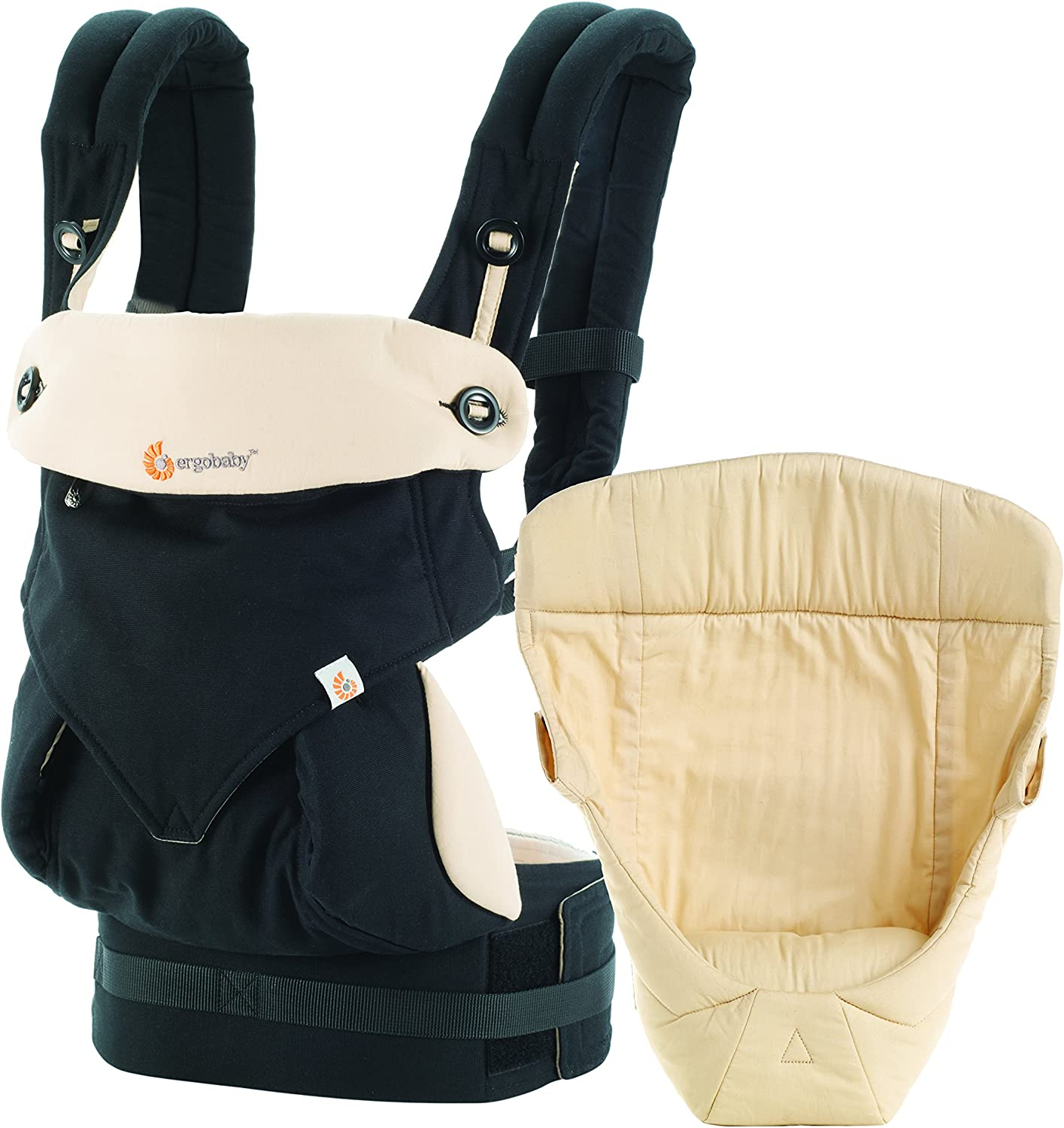 Ergobaby Bundle  2 Items  Black Camel All Carry Position Award Winning 360 Baby Carrier and Easy Snug Infant Insert, Natural