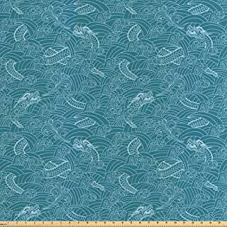 Lunarable Dragon Fabric by The Yard, Dragon Illustration Drawn in Swirling Lines Dreamy Design Curvy Pattern, Decorative Satin Fabric for Home Textiles and Crafts, 1 Yards, Pale Blue Teal