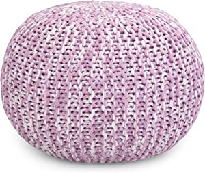 Simpli Home Ashlynn Contemporary Round Hand Knit Pouf in Lilac Cotton