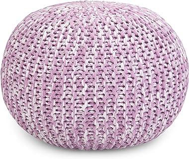 SIMPLIHOME Ashlynn Hand Knit Round Poufs, 20.1 inch, Lilac