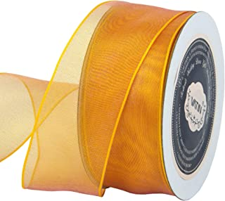 VATIN Christmas Ribbon Sheer Organza Wired Ribbon 1-1/2 inch 25 Yards (75Ft) -Gold,Perfect for Making Bows and Wreaths