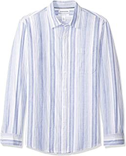 Amazon Essentials Men's Regular-Fit Long-Sleeve Linen Cotton Shirt