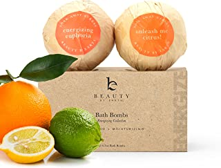 Bath Bombs Set, USA Made with Organic & Natural Vegan Ingredients, Lush Fragrant Energizing Essential Oils, Best Gift to Surprise Men, Women and Kids w/a Pack of 2 Large Epsom Salt Bathbombs (1 pack)