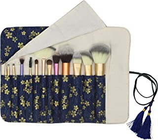12 Pockets Makeup Brushes Rolling Case Pouch Holder Cosmetic Bag Organizer Case with Belt Strap, NO BRUSHES (Gilded Sakura)